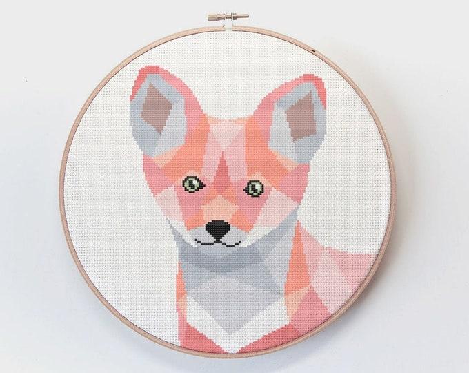 Featured listing image: Fox cross stitch pattern, Cross stitch, Nursery cross stitch, Modern cross stitch, Fox embroidery, Geometric cross stitch, Baby cross stitch