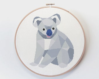 Cross stitch pattern, Koala cross stitch, Australia cross stitch, Cross stitch PDF, Australia wildlife, Cross stitch easy, Cute embroidery