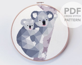 Cross stitch pattern, Koala cross stitch, Koala bear art, Koala baby art, Australia cross stitch, Cross stitch PDF, Australia wildlife, Bear