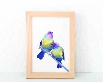 Bellbird art, New Zealand bird, New Zealand artist, Geometric bird wall art, Bird pair print, Lovebirds, NZ postcards, Kiwiana gift, Kiwi