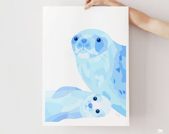 Seal print, Seal art, Seal illustration, Arctic seal, Baby seal art, Mother and baby art, Nursery art, New Zealand wildlife, Ocean creatures