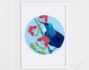 Tui art, Tui print, New Zealand birds, Tui illustration, Pohutukawa, Kiwi art, Tui painting, New Zealand artist, Circle print, Kiwiana art