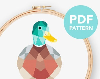 Duck cross stitch pattern, Duck pdf cross stitch, Simple cross stitch, Geometric duck cross stitch, Modern cross stitch, Animal cross stitch