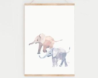 Nursery art, Elephant illustration, Elephant print, Geometric elephant, Baby elephant art, Baby room, Nursery prints, Elephant nursery art