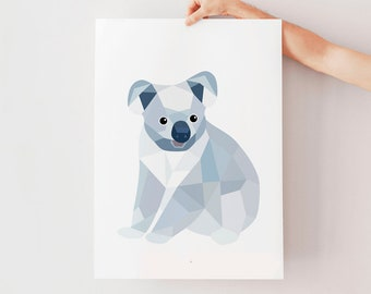 Koala print, Koala art, Koala illustration, Koala decor, Koala nursery art, Nursery print, Nursery animal art, Australian nursery art, Cute