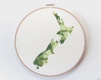 New Zealand map cross stitch pattern, Kiwi cross stitch pdf, Instant cross stitch pattern, Kiwiana cross stitch, Geometric map cross stitch