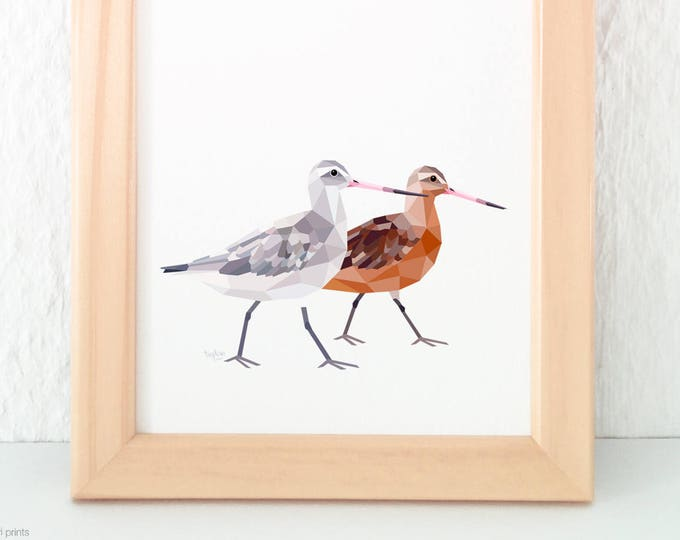 Bar-tailed godwit print, Godwit pair painting, New Zealand birds, Kiwi art, Kiwi artwork, Native NZ birds, Geometric wall art, tinykiwi art