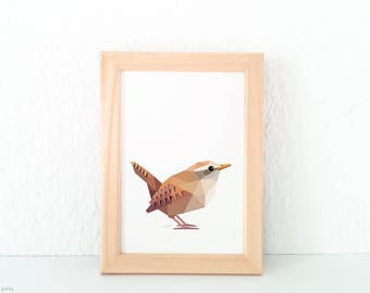 Wren print, Brown wren, Eurasian wren, European wren, Winter birds, Garden birds, Woodland creatures, European wildlife, Geometric wren art