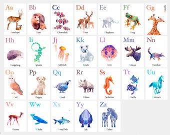 Alphabet set, ABC wall art, Alphabet decor, Alphabet art, Animal alphabet, Illustrated abc, Nursery ABC, Minimal nursery art, Geometric abc