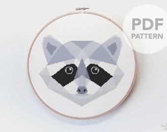 Cross stitch chart, Raccoon cross stitch pattern, Raccoon cross stitch, Cross stitch PDF, Cross stitch for beginners, Cross stitch funny