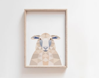 Sheep print, New Zealand sheep, Sheep illustration, New Zealand art, Geometric sheep, Neutral decor, Beige poster, Beige wall art, Sheep art