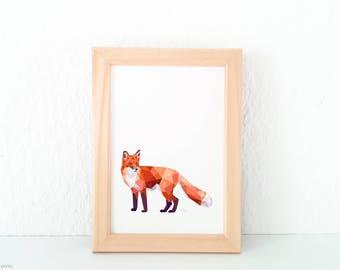 Forest creatures art prints, Fox print, Fox illustration, Fox wall art, Woodland creatures, Forest wildlife, Geometric fox, Fox nursery art