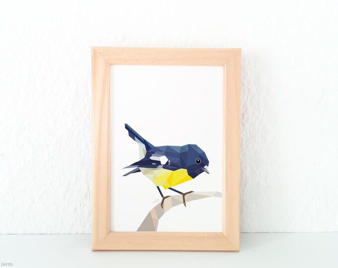 New Zealand Tomtit, Bird illustration, Geometric bird, Kiwi, Office art, Waiting room decor, Kitchen decor, Apartment decor, Cute bird art