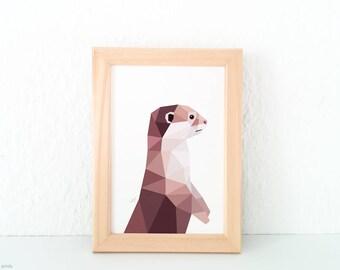 Otter illustration, Cute childrens wall art, Animal prints, Nursery print, Children's wall art, Otter print, Forest friends, Wildlife art