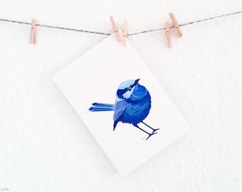 Splendid fairy wren print, Blue wren illustration, Fairy wren, Geometric wren art, Blue wall art, Australian bird art, Australian wren art