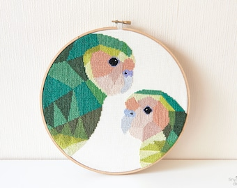 Kakapo cross stitch pattern, New Zealand cross stitch pattern, Instant cross stitch pattern, Cross stitch PDF, Geometric cross stitch, Kiwi