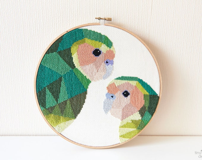Featured listing image: Kakapo cross stitch pattern, New Zealand cross stitch pattern, Instant cross stitch pattern, Cross stitch PDF, Geometric cross stitch, Kiwi