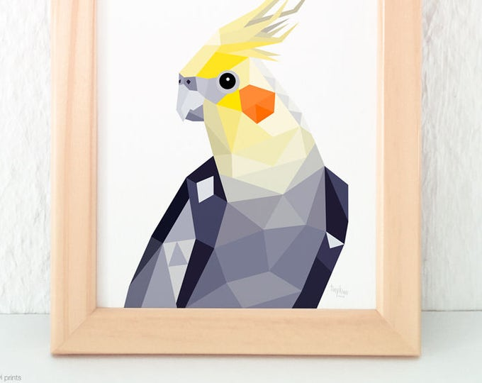 Cockatiel art, Cockatiel wall print, Australian bird art, Minimal Australian art, Grey and yellow decor, Geometric bird art, Bird wall art