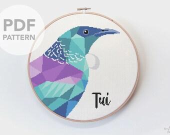 Cross stitch pattern, Tui cross stitch, New Zealand cross stitch pattern, Cross stitch PDF, Kiwi cross stitch, Cross stitch birds, Beginners