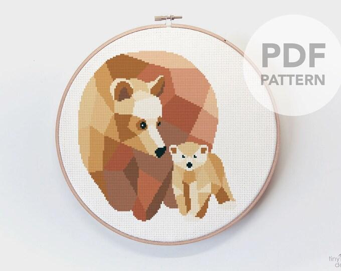 Featured listing image: Bear cross stitch pattern, Nursery cross stitch pattern, Modern cross stitch pattern, Bear embroidery, Geometric cross stitch, Minimal