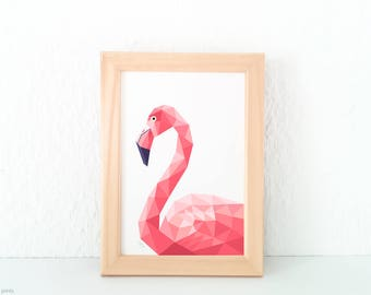 Flamingo print, Geometric flamingo, Flamingo art, Pink Flamingo decor, Pink decor, Africa wildlife art, Girls room art, Minimal animal art