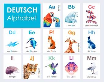 German alphabet prints, Deutsche Alphabet, ABC art, Alphabet art, Animal alphabet, Nursery ABC art, Baby nursery alphabet, Germany abc art