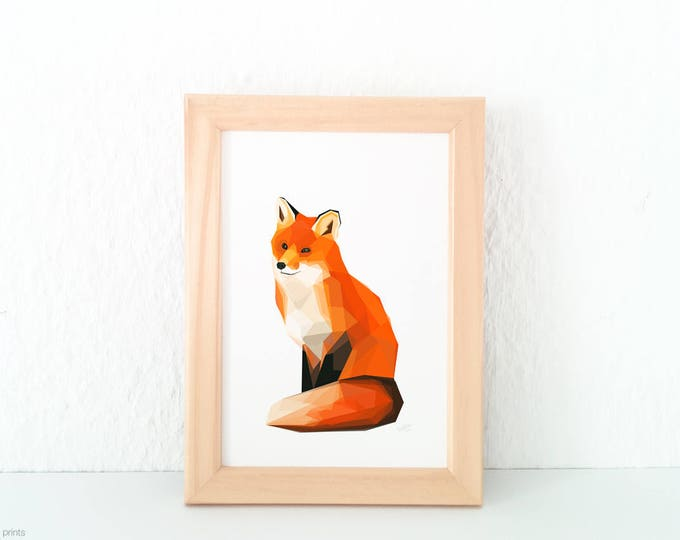 Fox print, Fox illustration, Fox wall art, Woodland creatures, English Wildlife, Geometric fox art, Fox nursery art, For children animal art