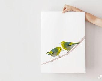 Waxeye art, Silvereye print, Tauhou, New Zealand birds, New Zealand art, Kiwi art, New Zealand garden, Kiwi wildlife, Tui art, Made in NZ
