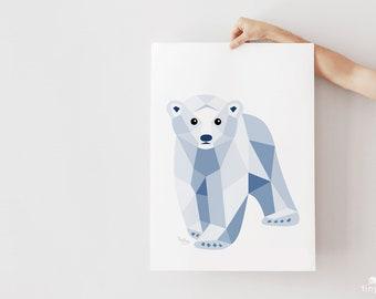 Nursery print, Polar bear illustration, Baby bear print, Baby polar bear, Geometric polar bear, Baby animal art, Minimal nursery art