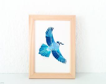 Blue jay fine art print, Blue jay illustration, Blue bird art, State birds, American wildlife, American birds, Geometric bird illustration