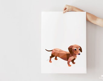 Dachshund art, Sausage dog art, Pet art, Dachshund print, Dog art, Dog print, Modern pet art, Minimal pet art, Geometric dog art, Pet gift