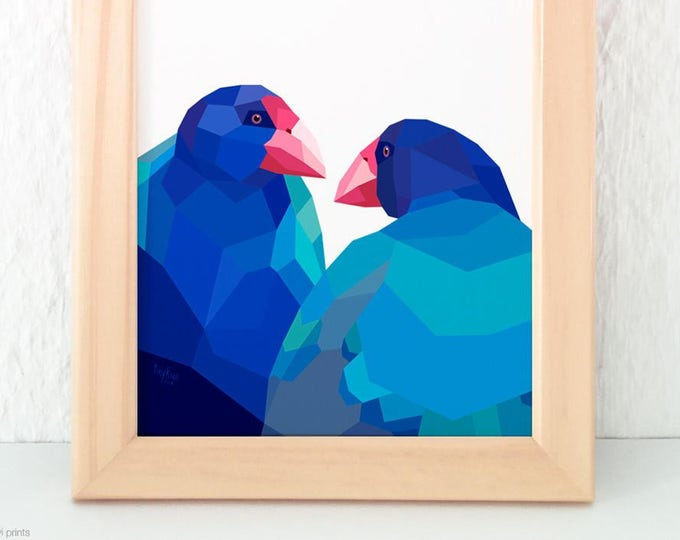 Takahe art, Takahe pair, New Zealand birds, New Zealand native birds, Flightless bird, Kiwi art, Gift from New Zealand, New Zealand postcard