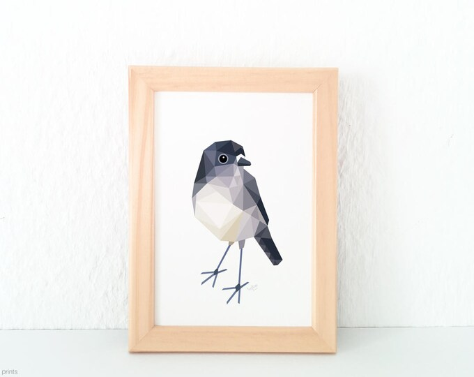 New Zealand Robin, North Island Robin, Geometric bird, New Zealand birds art, Kiwiana gift, Robin wall art, NZ forest art, tinykiwi prints