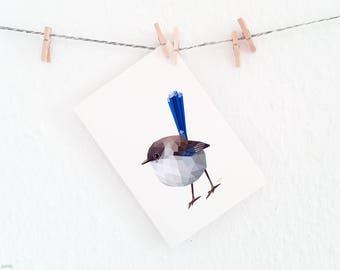 Superb fairy wren print, Fairy wren painting, Blue bird painting, Contemporary animal art, Australian birds, Wall decor, Australian wren art