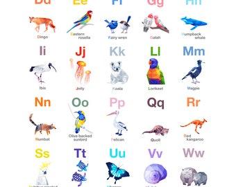ABC Poster, Australian Alphabet, Australian bird art, Educational poster, ABC Poster, Nursery alphabet poster, Kids ABC poster art