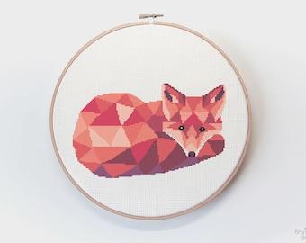 Fox cross stitch pattern, Geometric cross stitch, Cross stitch digital download, Fox embroidery, Beginners cross stitch, Easy cross stitch