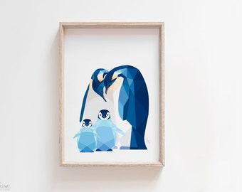ON SALE Penguin print, Penguin nursery print, Penguin illustration, Penguin baby, Penguin nursery decor, Animal family art, Gift for new mum
