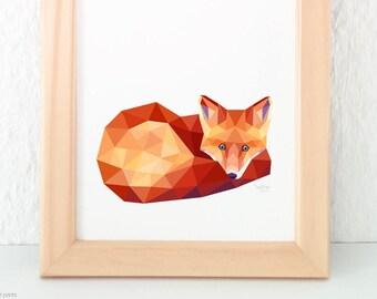 Fox print, Fox illustration, Fox wall art, Woodland creatures, English Wildlife, Geometric fox art, Fox nursery art, For children animal art