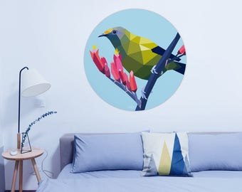 ON SALE Wall decal, Wall sticker, Circle art, New Zealand art, Bellbird print, Bellbird, New Zealand birds, New Zealand decal, Round print