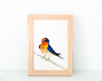 Welcome swallow illustration, New Zealand Swallow, New Zealand artist, Large animal wall art, Geometric bird logo, Orange bird, Bird art