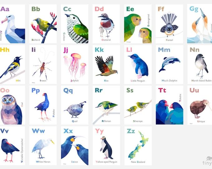 Featured listing image: New Zealand ABC art, Kiwi alphabet prints, New Zealand birds, New Zealand wildlife, Kiwiana abc art, Nursery alphabet, Kiwi alphabet, Kakapo