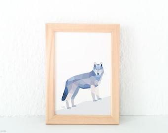 Wolf print, Geometric wolf print, Grey wolf illustration, Animal lover gift, Forest creatures, Woodland creatures wall art, Wildlife art,