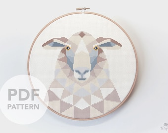 Sheep cross stitch pattern, Geometric cross stitch, Duck embroidery, Fibre art, Nature cross stitch, Digital pattern, Modern cross stitch