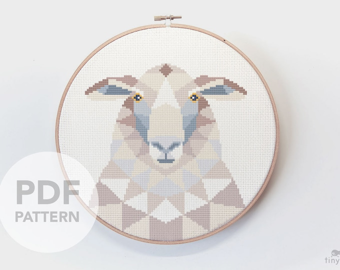 Featured listing image: Sheep cross stitch pattern, Geometric cross stitch, Duck embroidery, Fibre art, Nature cross stitch, Digital pattern, Modern cross stitch
