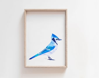 Blue jay print, Blue jay art, Blue jay illustration, Geometric print, Ornithology art, North American bird art, Charley harper, John Audubon