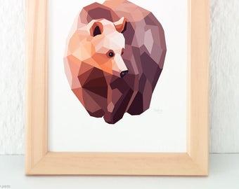Grizzly bear print, North American wildlife decor, Brown bear illustration, Geometric bear, Kids bear decor, Nursery bear art, Bear painting