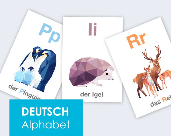 German alphabet prints, Deutsche Alphabet, ABC art, Alphabet art, Animal alphabet, Nursery ABC art, Baby nursery alphabet, Germany abc art