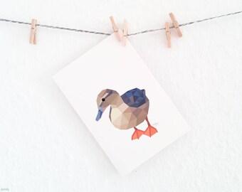 Female Mallard duck print, Duck illustration, Wild duck wall art, New Zealand duck, Duck nursery art, Geometric duck, Duck art for nursery