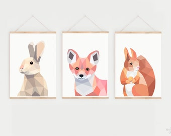 Set of 3 prints, Woodland nursery PRINT SET, Animal prints, Fox print, Nursery prints, Rabbit print, Squirrel print, Forest nursery art