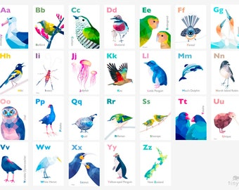 New Zealand ABC art, Kiwi alphabet prints, New Zealand birds, New Zealand wildlife, Kiwiana abc art, Nursery alphabet, Kiwi print, Tui art